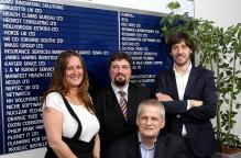 Sandie Alcock with David Zolesi, Mike Kearns and Celestino Gomez at the Harwell Innovation Centre, Oxfordshire